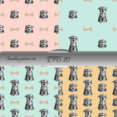 schnauzer: Set of cute schnauzer seamless patterns. Nice hand-drawn illustration