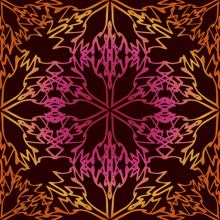 rococo: Elegant seamless pattern with Mandala and floral elements
