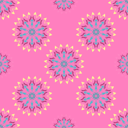 Elegant seamless pattern with Mandala and floral elements. Nice hand-drawn vector illustration