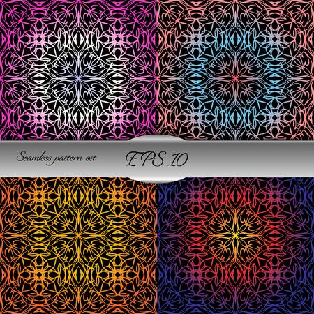 rococo: Set of elegant seamless patterns. Nice vector illustration Illustration