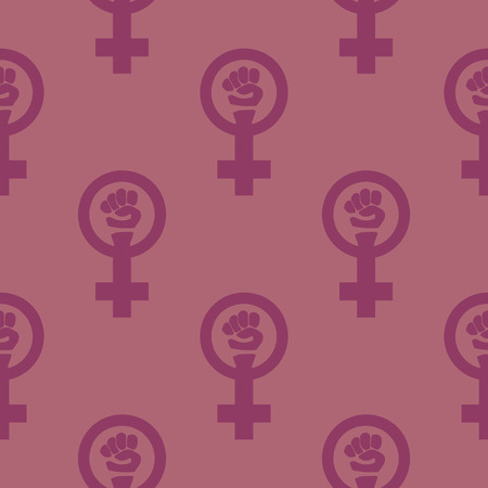 struggling: Simple feminist seamless pattern. Venus mirror and fist sign. Nice vector illustration