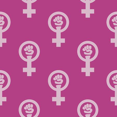 feminist: Simple feminist seamless pattern. Venus mirror and fist sign. Nice vector illustration