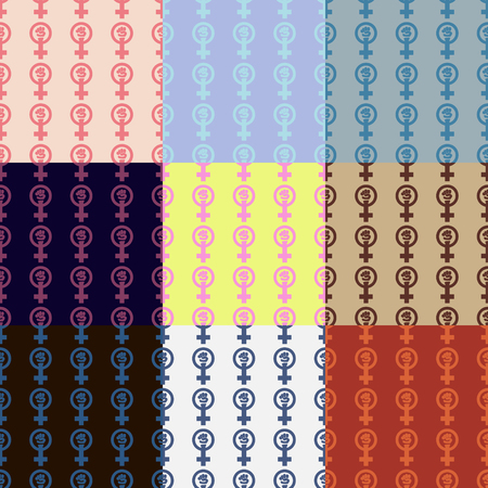 feminist: Set of nine feminist seamless patterns. Nice vector illustration