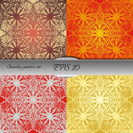 contrast floral: Set of elegant seamless patterns with floral and Mandala elements. Nice hand-drawn illustration Illustration