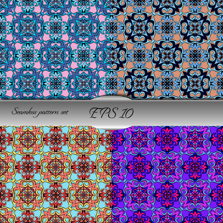 Set of elegant seamless patterns with floral and Mandala elements. Nice hand-drawn illustration Illustration
