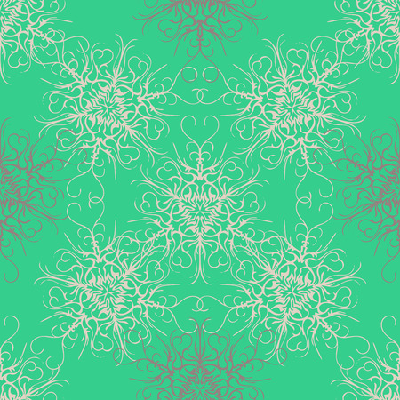 Elegant seamless pattern with floral and Mandala elements. Nice hand-drawn vector illustration