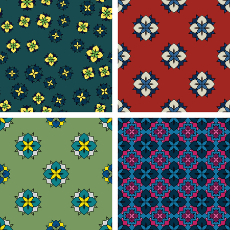 Set of four seamless abstract colorful patterns