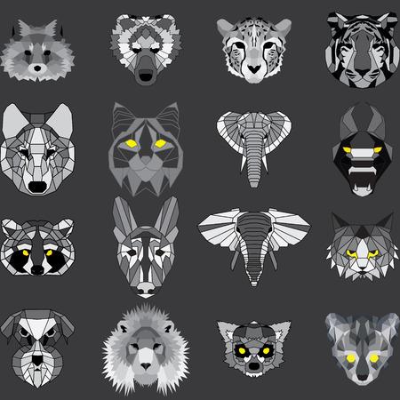 Huge set of geometric animals. Low polygonal vector design. Fox, bear, cheetah, tiger, wolf, bobcat elephant dogs lion raccoon Ilustração