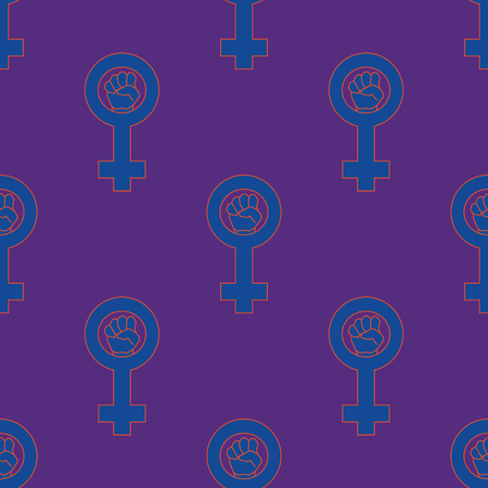 Purple and blue colorful venus mirror feminism seamless pattern. Vector graphic design Illustration