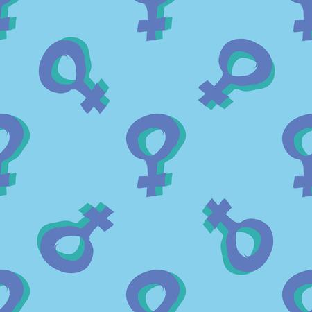 Blue colorful venus mirror feminism seamless pattern. Vector graphic design