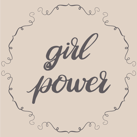 Pastel girl power lettering. Vector graphic illustration