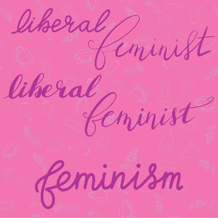 Hand drawn feminist lettering of liberal feminist with a seamless pattern background. Nice Vector graphic illustration EPS 8 Çizim