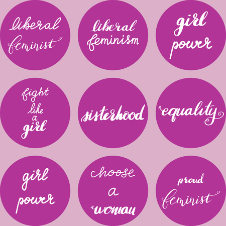 Set of liberal feminism hand drawn lettering quotes. Nice Vector graphic illustration EPS 8 Çizim