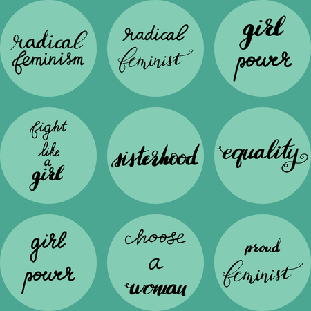 Set of radical feminism hand drawn lettering quotes. Nice Vector graphic illustration EPS 8 Illustration
