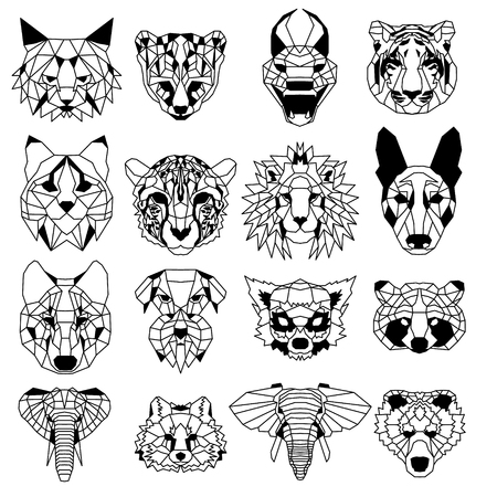 Set of sixteen low polygonal portraits of animals. Nice vector graphic illustration. Illustration