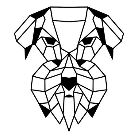 Low polygonal portrait of a schnauzer. Nice vector graphic illustration. Illustration