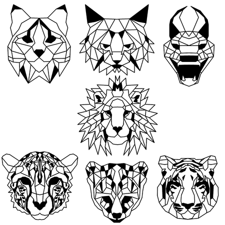 Set of seven domestic and wild low polygonal cats. Nice vector graphic illustration. Vektorové ilustrace