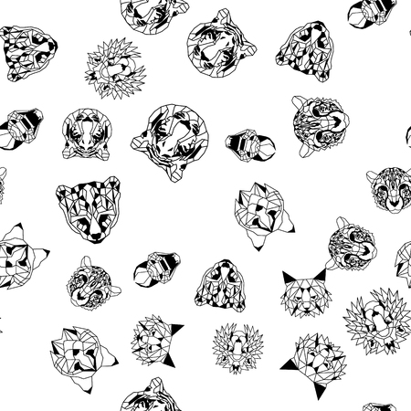 Seamless pattern background of low polygonal wild and domestic cats. Nice vector graphic illustration EPS 8