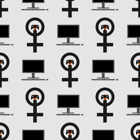 Gamer girl pattern. Venus mirror, computer. Nice and beautiful vector graphic illustration