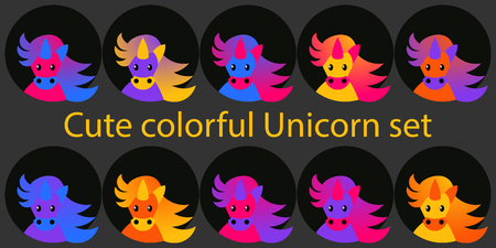 Cute colorful set of unicorn portraits. Nice and beaytiful vector illustration