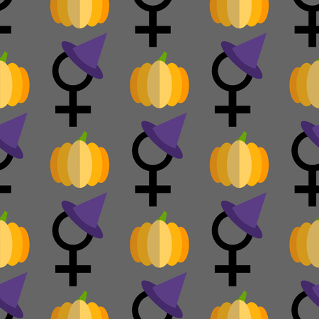 Feminist halloween seamless pattern background. Nice and beautiful vector graphic illustration