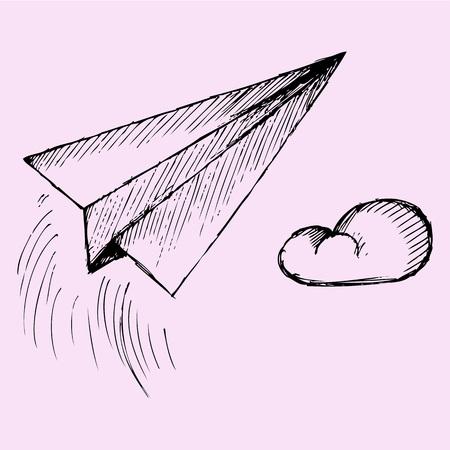 Paper plane, doodle style, sketch illustration, hand drawn, vector Illustration