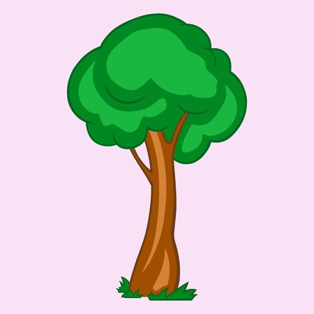 linework: green tree, vector illustration Illustration