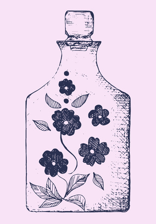 decanter: crystal decanter with lid on, hand drawn, vector