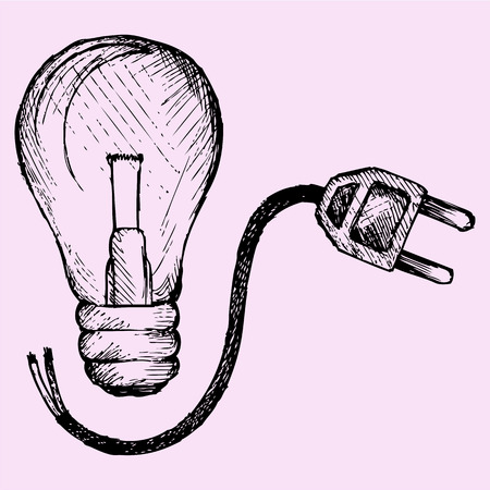 linework: Lightbulb and plug, doodle style, sketch illustration, hand drawn, vector Illustration