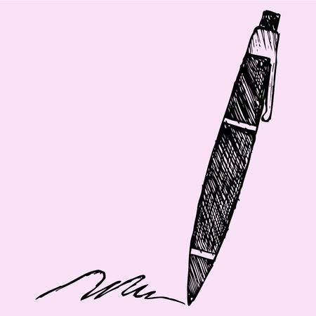 ballpoint: ballpoint pen, doodle style, sketch illustration, hand drawn, vector Illustration