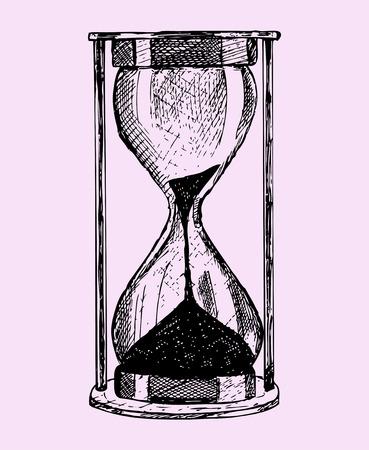 砂時計、落書きスタイル、ピンクの背景で隔離のスケッチ図
