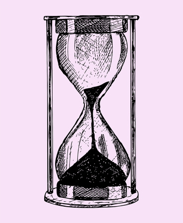 reloj de arena: reloj de arena, el estilo de dibujo, ilustraci�n boceto aislado en el fondo de color rosa