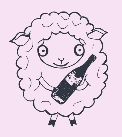 xmas linework: Christmas sheep with champagne, isolated on pink background, vector