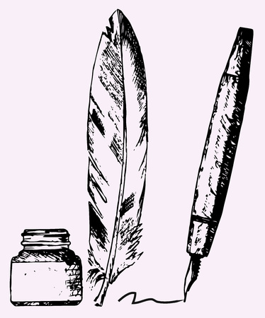 feather pen: inkwell, feather, pen, doodle style, sketch illustration Illustration