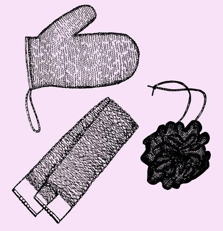 wisp of bast, washcloths, sketch illustration, doodle style Illustration