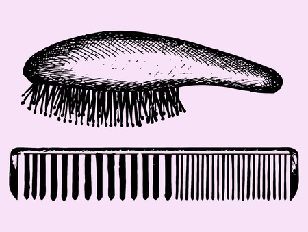 comb hair: hair comb, hair brush comb, doodle style Illustration