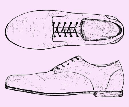 foot path: shoes with shoelace, sketch illustration, doodle style