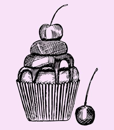 trozo de pastel: magdalena con la cereza, el estilo de dibujo Vectores