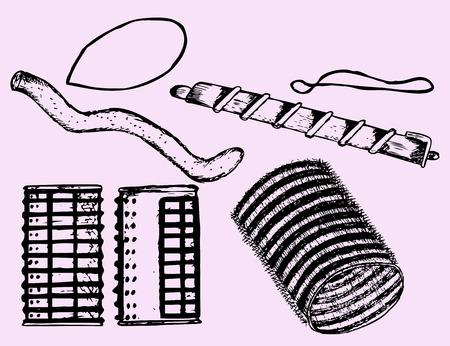 curler: velcro rollers, curler set, doodle style Illustration