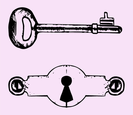empty keyhole: Keyhole, key, doodle style isolated on pink background Illustration