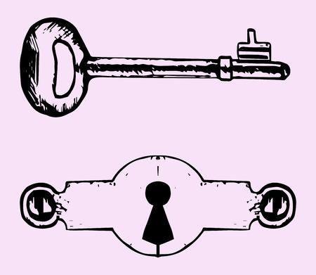 Sleutelgat, sleutel, doodle stijl op een roze achtergrond