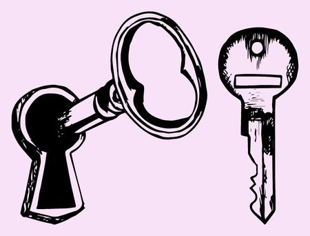 key hole: key in keyhole, doodle style isolated on pink background Illustration