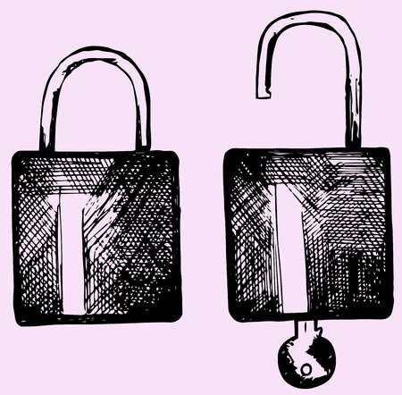 closed lock: open and closed lock, set, doodle style Illustration
