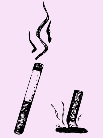 lit: Lit cigarette and extinguished cigarette isolated on pink background