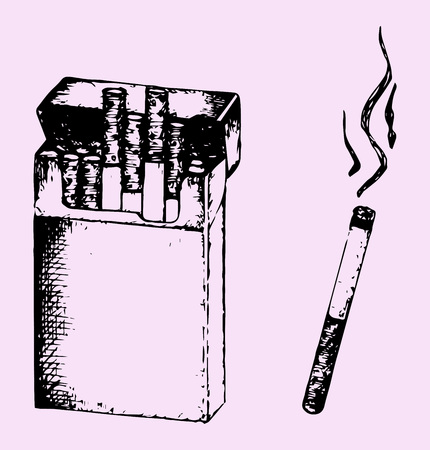 cigarette pack: Pack of the cigarettes and lit cigarette with smoke isolated on pink background