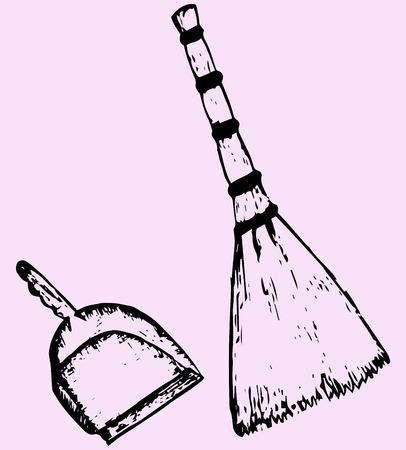 besom: broom and dustpan, sketch illustration, doodle style
