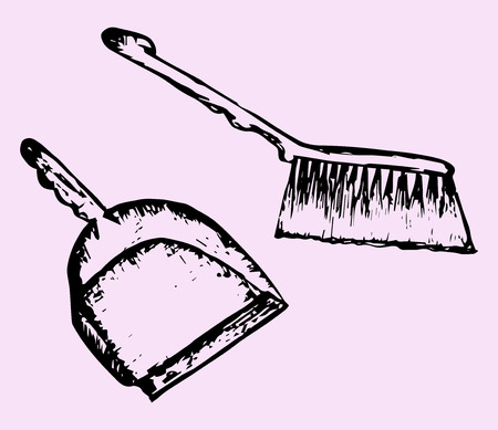 dust pan: dustpan and sweeping brush, doodle style, sketch illustration