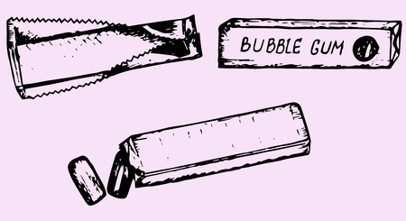 chewing gum: chewing gum, doodle style, hand drawn
