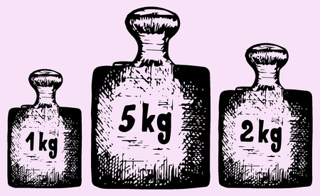 calibration: old calibration weights, doodle style, hand drawn