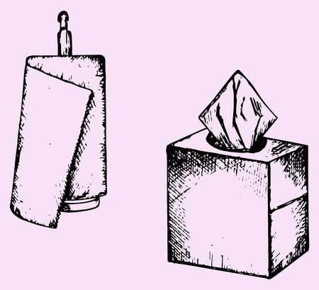 utencilios de cocina: toalla de papel, toallitas, el estilo de dibujo, ilustraci�n boceto Vectores